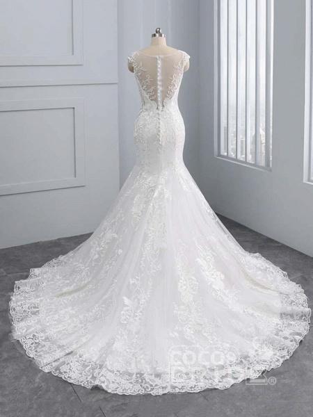 New V-Neck Lace Mermaid Wedding Dresses_3