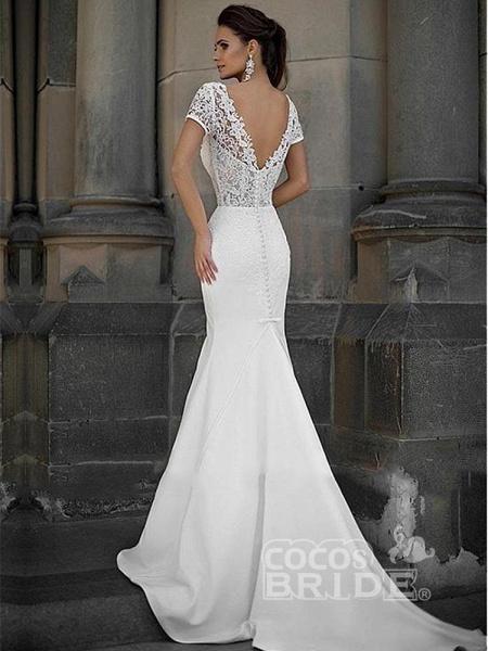 Gorgeous V-neck Short Sleeves Lace Mermaid Wedding Dresses_2