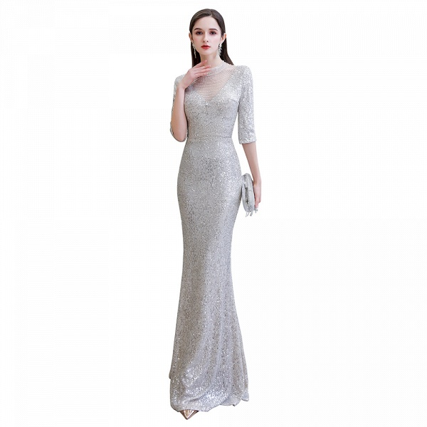 Gorgeous Silver Long sleeves Long Prom Dress_1