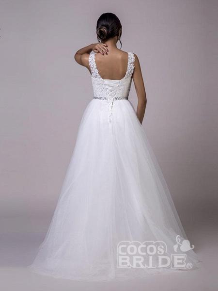 Fancy V-Neck Lace Up Sleeveless A Line Wedding Dresses_2