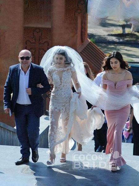 Pretty Lace Mermaid Long Sleeves Wedding Dress_2