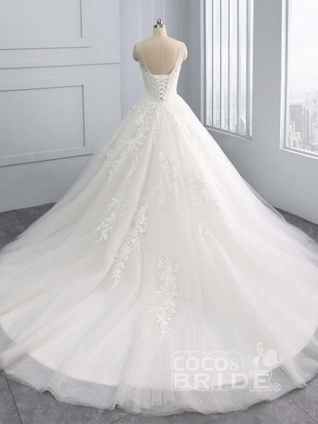 Gorgeous Lace-Up Sweep Train Ball Gown Wedding Dresses_3