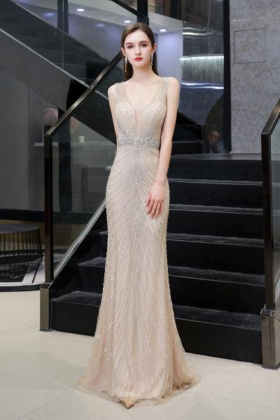 Sexy Mermaid V-neck Silver Long Prom Dress_11