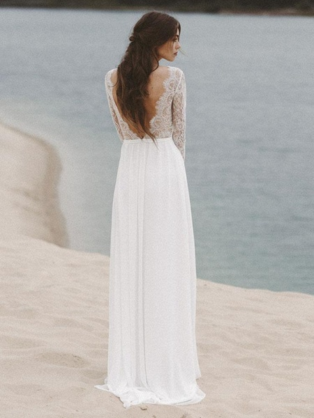 Gorgeous Long Sleeves V-Neck Backless A-Line Wedding Dresses_1