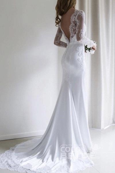 Elegant Illusion Lace Long Sleeves Mermaid Wedding Dress_3