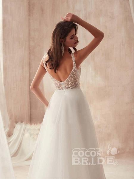 Popular Dress V-neck Beading Tulle Ruffles Wedding Dresses_5