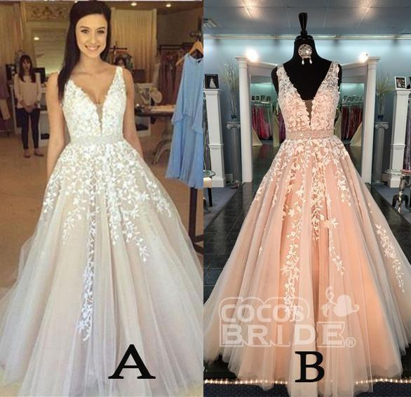 A-line V Neck Sexy Lace Appliques Long Wedding Dress_2