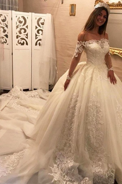 Luxury Off the Shoulder Long Sleeve Ball Gown Chapel Train Appliques Wedding Dress_1