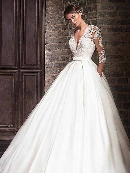 V-Neck Lace Applique Ball Gown Wedding Dresses_1