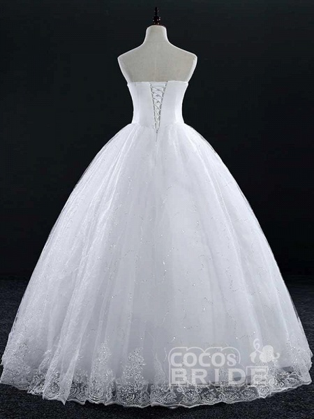 Sweetheart Lace Ball Gown Wedding Dresses_3