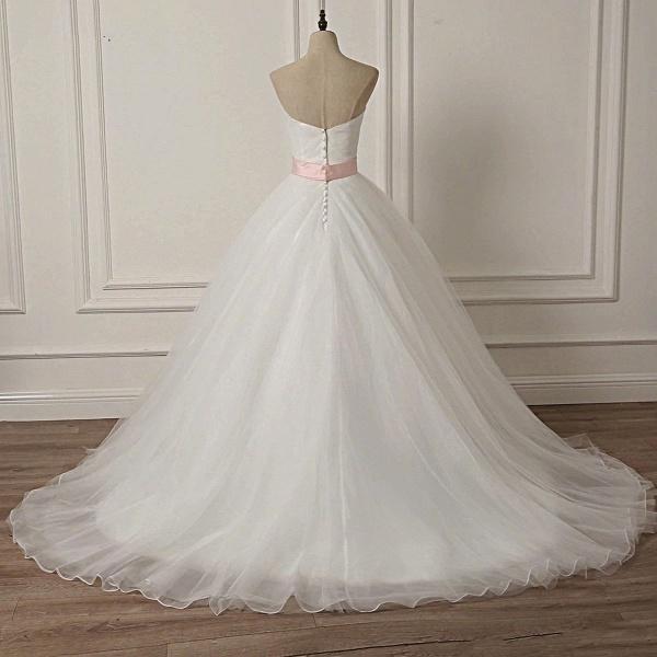 White Tulle Backless Long Beaded Applique Long Wedding Dress_3