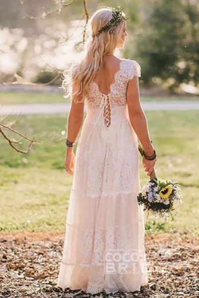 A-Line V Neck Floor Length Cap Sleeves Lace Beach Boho Wedding Dress_3