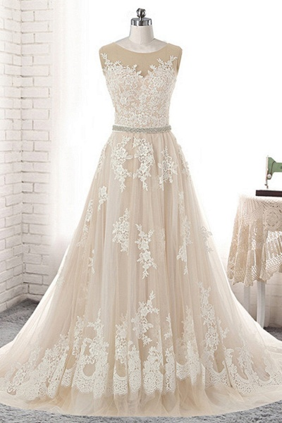 Creamy Tulle Round Neck White Lace Applique Long Wedding Dress_1