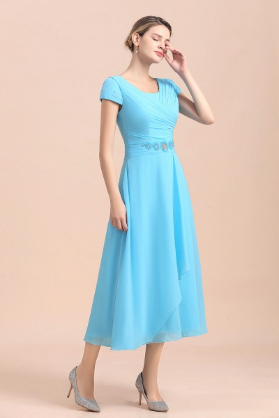 Blue Short Sleeves Chiffon Ruffles Tea-length Mother of the Bride Dress_4