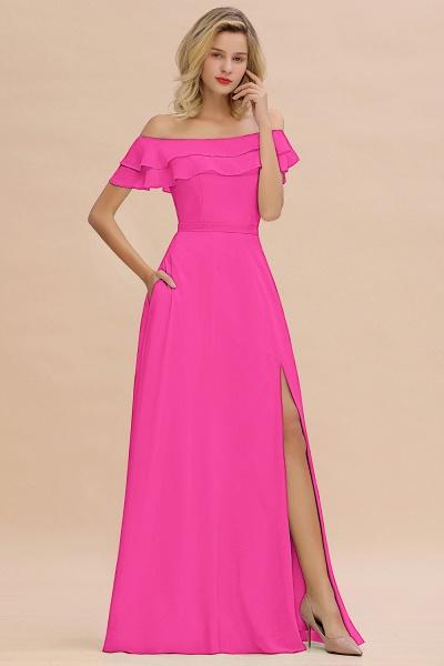 BM0775 Off-the-Shoulder Front Slit Mint Green Long Bridesmaid Dress_9