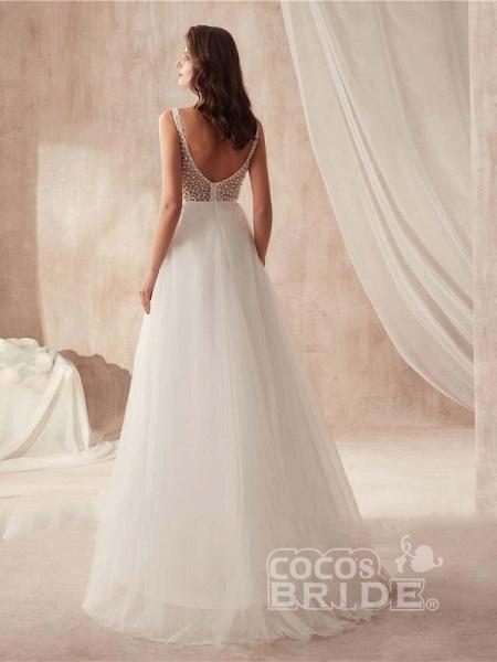 Popular Dress V-neck Beading Tulle Ruffles Wedding Dresses_3
