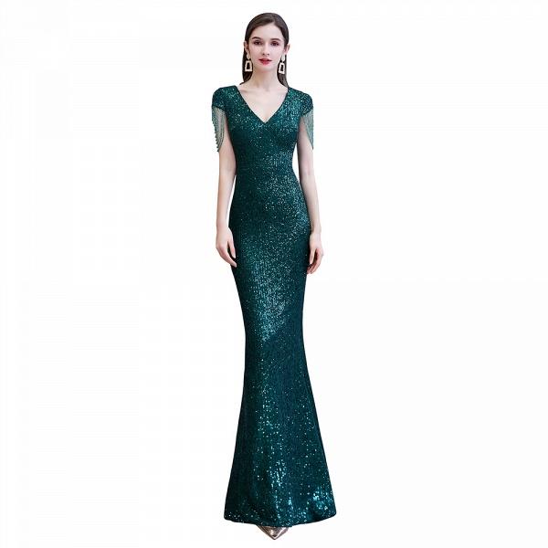 Elegant Cap Sleeve Green Sequins Long Prom Dress_10