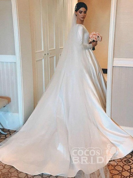 Simple Jewel Long Sleeve A-line Wedding Dresses_2