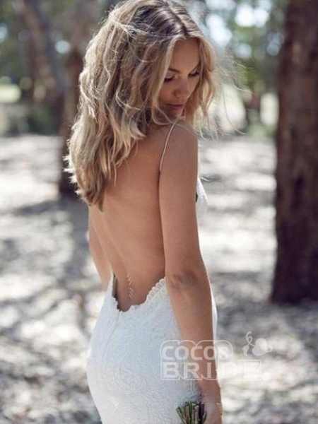 Backless Mermaid Spaghetti Strap Full Lace Wedding Dresses_2