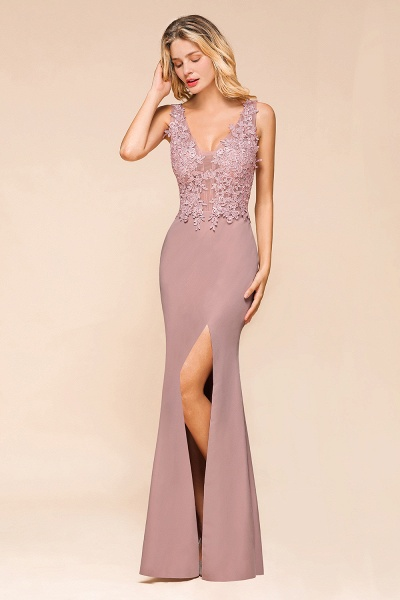Dusty Pink Mermaid Lace Long Sleeveless Evening Gowns_10