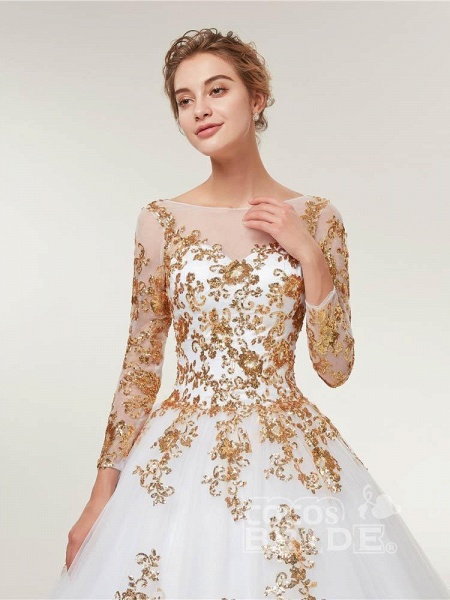 Golden Jewel Long Sleeve Ball Gown Wedding Dresses_4