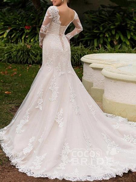 Elegant Long Sleeve Lace-Up Mermaid Wedding Dresses_2