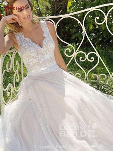 V Neck Lace Appliques A Line Wedding Dresses_2