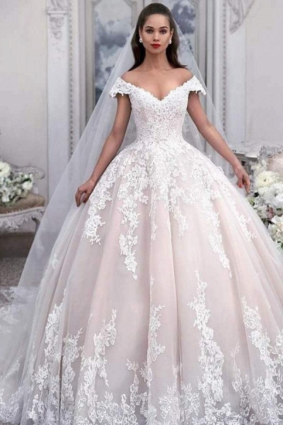 Light Pink Off the Shoulder Ball Gown Tulle with Appliques Wedding Dress_1