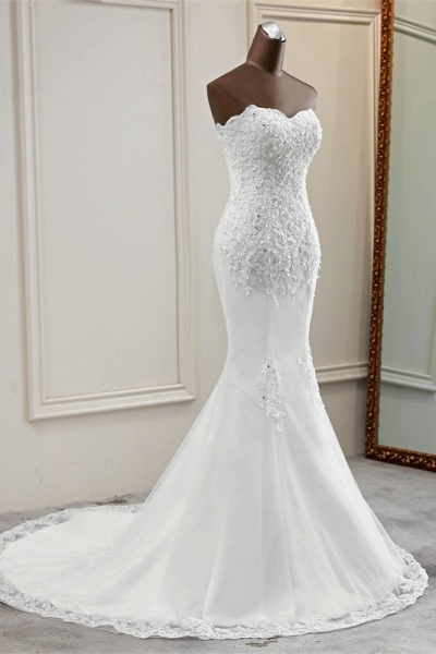 Chic Long Mermaid Strapless Lace Appliques Wedding Dress with Beadings_3