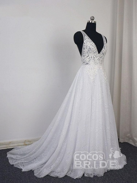 Gorgeous V-Neck Backless Ruffles Wedding Dresses_3