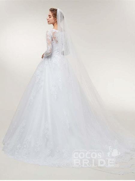 Glamorous Long Sleeve Lace Ruffles Wedding Dresses_4