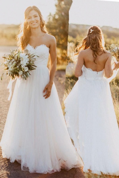 Sexy Sweetheart White Tulle Backless Beach with Lace Long Wedding Dress_1