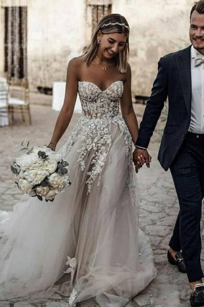 Boho Sweetheart Tulle Long Beach Charming Appliques Wedding Dress_1