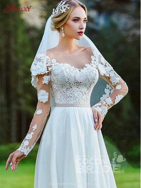 Modest Bateau Long Sleeves Lace Ruffles Wedding Dresses_3