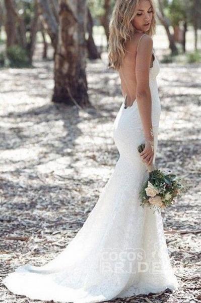 Spaghetti Strap Lace Beach Backless V Neck Sweep Train Long Wedding Dress_2