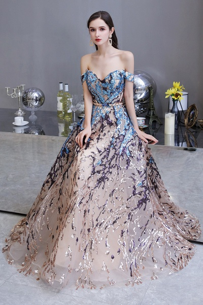 Off-the-Shoulder Sequins Long Multi-Color Prom Dress_8