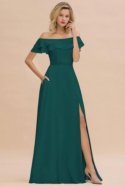 BM0775 Off-the-Shoulder Front Slit Mint Green Long Bridesmaid Dress_33