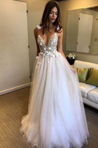 Deep V-neck Beading Straps Tulle Appliques A-line Custom Beach Wedding Dress_1