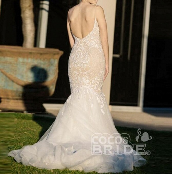 Ivory Mermaid Backless Spaghetti Straps Court Train Lace Tulle Wedding Dress_4