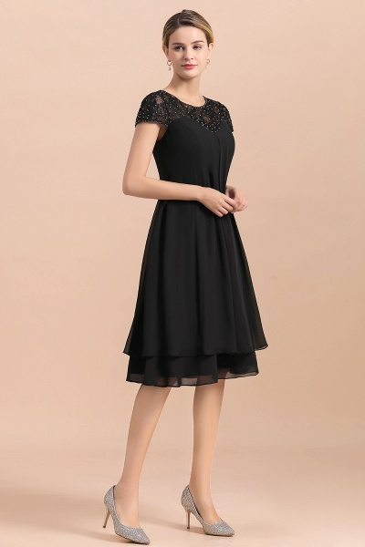 Chiffon Black Cap Sleeve Short Mother of Bride Dress_5