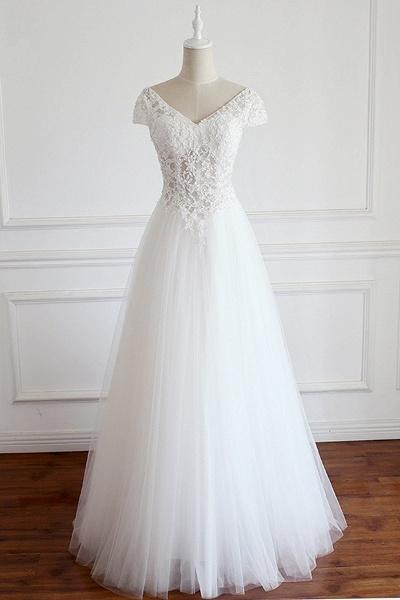White Tulle V Neck Cap Sleeve Long Lace Wedding Dress_1