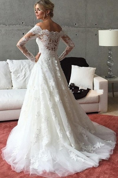 A Line Off the Shoulder Long Sleeves Sweep Train Wedding Dress_1