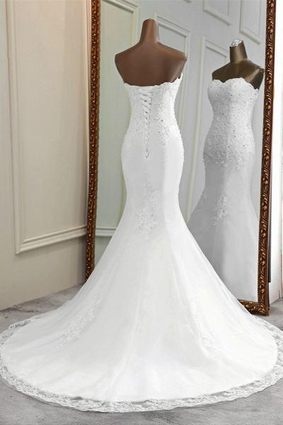 Chic Long Mermaid Strapless Lace Appliques Wedding Dress with Beadings_2