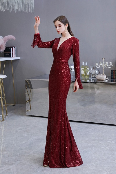 Gorgeous Sequins Long Sleeve V-Neck Mermaid Evening Gowns_23