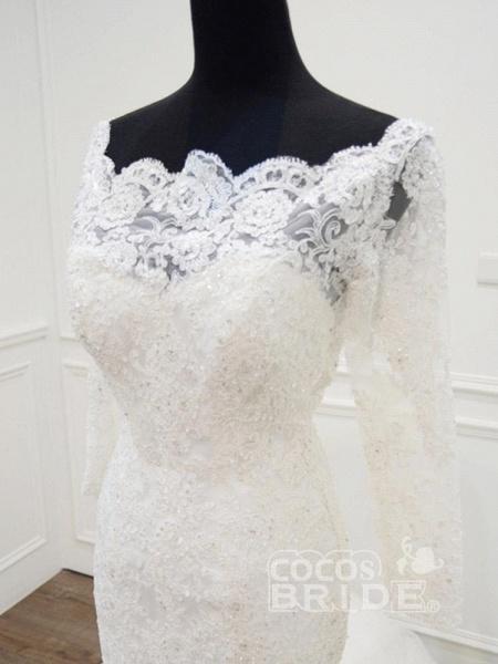 Modest Long Sleeves Sweep Train Lace Mermaid  Wedding Dresses_4