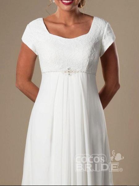 Elegant Square Cap Sleeves A-Line Ruffles Wedding Dresses_3