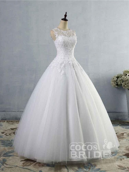 Glamorous Tulle Lace Ball Gown Wedding Dresses_2