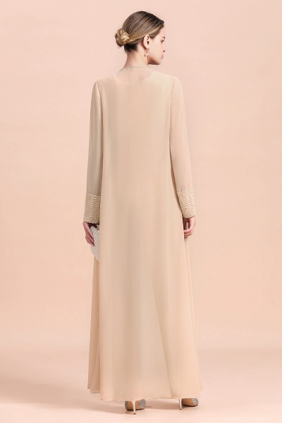 Two Pieces Champagne Long Sleeve Chiffon Mother of the Bride Dress With Jacket_3