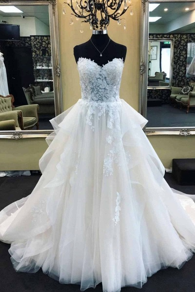 Strapless Long A-Line White Lace Wedding Dress_1