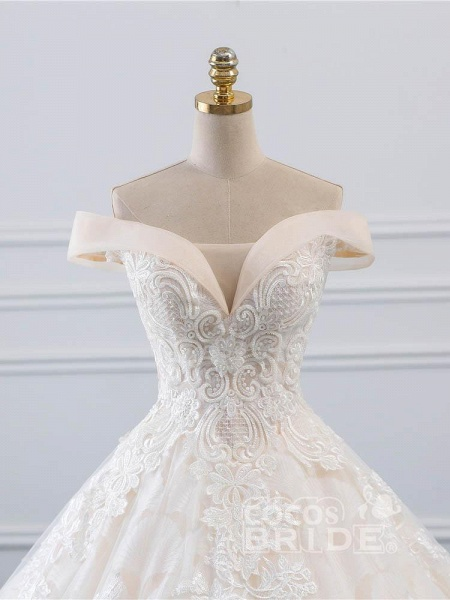 Popular Off-the-Shoulder Lace-Up Ball Gown Wedding Dresses_4